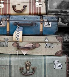 old trunks, vintage suitcases, blue, old suitcases, place