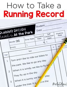 How to Take a Running Record Guided Reading Binder, Reading Record, Guided Reading Lessons, Guided Reading Groups, Reading Levels, Reading Strategies, Reading Skills, Teaching Reading, Reading Themes