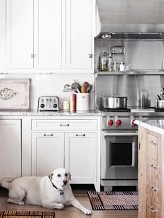 Kitchen, white with natural island
