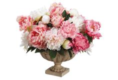 "19"" Peonies in Vase, Faux"