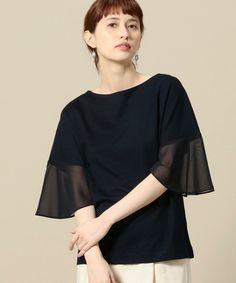 BEAUTY&YOUTH WOMENS(ビューティアンドユース ウィメンズ)のBY ポンチ×シフォンスリーブ5分袖プルオーバー(Tシャツ/カットソー)|ネイビー