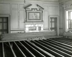 Image of preservation efforts in Main House of Drayton Hall. Image labeled as large drawing room. Assumed to be after National Trust acquired property before opening to the public between 1974 and 1977. Charleston County (S.C.)
