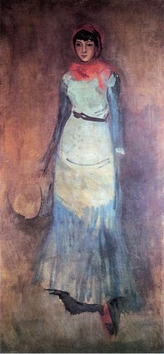 James McNeill Whistler — Harmony in Coral and Blue: Milly Finch,  1886. Painting: Oil on canvas, 191.14 x 89.54 cm. Hunterian Museum and Art Gallery, Glasgow, UK.