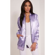 Naya Lilac Longline Satin Bomber Jacket-8 ($22) ❤ liked on Polyvore featuring outerwear, jackets, purple, purple satin jacket, purple sports jacket, bomber style jacket, sport jacket and sports jacket
