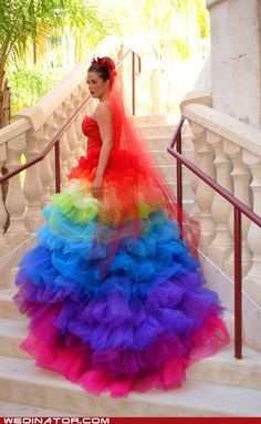 2015 Haute Couture Rainbow Wedding Gown Dress Formal Ball Runway Fashion Ruffled Tulle Skirt Bridal Gowns With Sweetheart Rainbow Wedding Dress, Rainbow Dresses, Rainbow Clothes, Spanish Dress, Spanish Style, Taste The Rainbow, Rainbow Colors, Rainbow Stuff, Rainbow Things