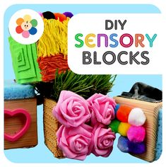 DIY Sensory Blocks Video Allow your toddlers to explore different textures, shapes, and colors with Diy Sensory Toys For Babies, Baby Sensory Board, Baby Sensory Play, Baby Sensory Classes, Sensory Kids, Baby Play, Diy Montessori Toys, Montessori Bedroom, Montessori Toddler