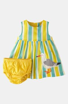 Mini Boden 'Printed Appliqué' Dress & Bloomers (Baby) available at #Nordstrom