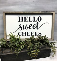 """Hello Sweet Cheeks, Funny Bathroom Sign, Bathroom Saying. This wooden sign reads """"Hello Sweet Cheeks."""" It is made from pine and is painted with Wise Owl Chalk Synthesis Paint ~Creme Color ~ The measurement is roughly H x W with a router spo. Rustic Bathroom Vanities, Wood Bathroom, Bathroom Humor, Small Bathroom, Signs For Bathroom, Funny Bathroom Quotes, Washroom, Funny Bathroom Decor, Neutral Bathroom"""