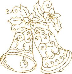 Golden Bells with Pointsettia embroidery design