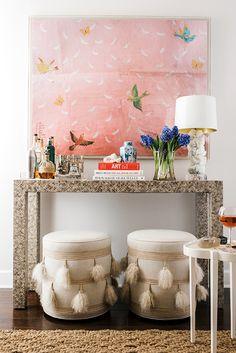 Home Bar Setup with console table and stools by Design Entrée, House Design, Design Ideas, Design Projects, Print Design, Art Print, Interior Design Inspiration, Home Decor Inspiration, Colour Inspiration
