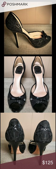 """Christian Dior Heels Super sexy & girly. Black Suede/Patent Dior platform peek a boo Heels. Only worn twice. Bought at Nordstrom. Great condition. Size 40, but run like a size 9-9.5 American. 5"""" heel with 1"""" platform. Christian Dior Shoes Heels"""