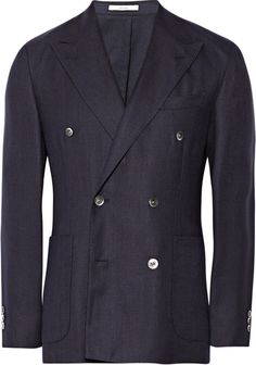 $1,095, Double Breasted Hopsack Wool Blazer by Boglioli. Sold by MR PORTER. Click for more info: http://lookastic.com/men/shop_items/135985/redirect