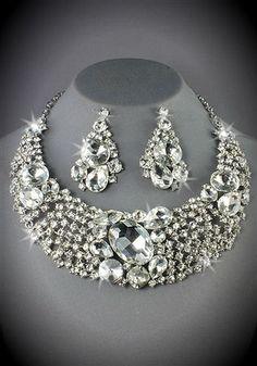 Large Rhinestone Bridal Bib Necklace and by DESIGNERSHINDIGS, $109.00