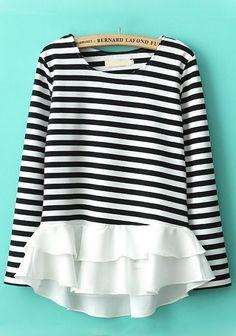 Multicolor Striped Falbala Long Sleeve Cotton Blend T-Shirt