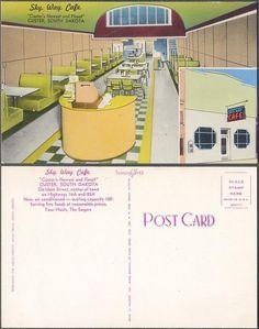 Vintage Postcard Sky Way Cafe Interior Custer South Dakota 050156 Custer South Dakota, The Beautiful South, Vintage Cafe, Cafe Interior, Diners, Vintage Postcards, Sweet Home, America, Sky