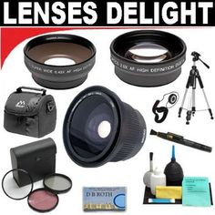 .42x HD Super Wide Angle Fisheye Lens   2x Digital Telephoto Professional Series Lens   0.5x Digital Wide Angle Macro Professional Series Lens   3 Piece Digital Camera Filter Kit   6-Piece Deluxe Cleaning Kit   Full Size Tripod   Deluxe DB ROTH Accessory Kit For The Nikon Coolpix P100 Digital Camera *** For more information, visit image link.