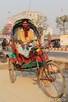 Rickshaw is one way of getting to and from a cafe in Dhaka.