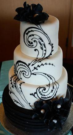 I've found my future wedding cake! or maybe the cake for my birthday. Black White Cakes, Black And White Wedding Cake, White Wedding Cakes, Gold Wedding, White Weddings, Wedding Cupcakes, Indian Weddings, Gorgeous Cakes, Pretty Cakes