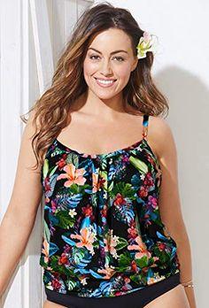 0e40d58c0e1 Swimsuits for All Women s Tropical Print Blouson Tankini Top