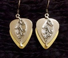 Mirror Gold Metallic silver leaf guitar pick earrings $27 - Purchase thru our website