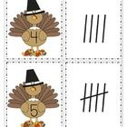 This is a set of turkey cards, numbered from 0-20, and a set of tally marks, from 0-20. Use to match the sets; as flash cards; for number or tally marks sequencing