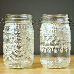 Hanging Snowflake Mason Jar Lantern, Lace Design in White Pearl - on Crystal…