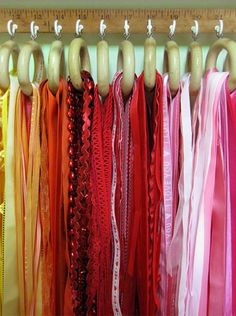 Put the shower curtain rings on a hanger .... store in closet (Dollar tree $1) Shower Curtain Hooks to hold scarves