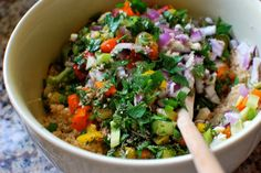 Colorful lentil & bulgur salad    Adapted liberally from Mollie Katzen's The New Moosehead Cookbook