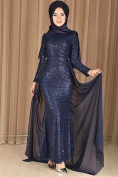 da21c5dc96396 modamerve - Şifon Kuyruklu Balık Model Abiye Elbise Lacivert RZG 6409