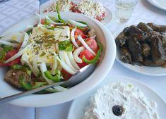 "Greek salad,tzatziki,ntakos,ntolmadakia and wine ! Join us or ""Kopiaste"" ! Greek Salad, Tzatziki, Food Porn, Villa, Join, Mexican, Traditional, Ethnic Recipes, Fork"