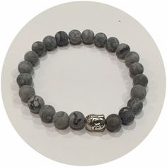 """-8mm Matte Grey Jasper - Silver Buddha - Made with stretch cord - Standard 7 3/4"""" length*all bracelets are made to fit snug, for larger or smaller requests, please leave comments at checkout!"""