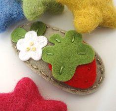 NO SLIP Wool felt hair clip Strawberry and flower by MayCrimson