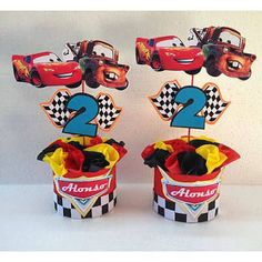 Car Centerpieces, Birthday Centerpieces, Disney Cars Party, Disney Cars Birthday, Car Themed Parties, Cars Birthday Parties, Race Car Birthday, 3rd Birthday, Birthday Ideas