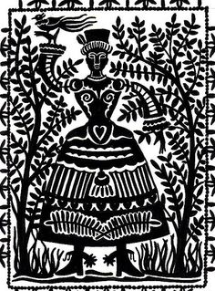 Hand Carved Folk Art Tile