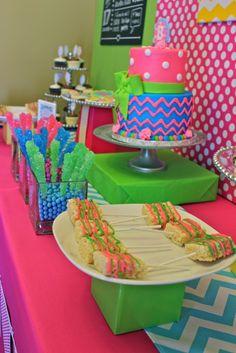 Brooklyn's First Birthday Bash!-Chevron & Polka Dot Theme Dessert Table