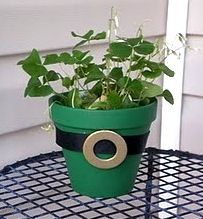 green painted clay pot with clover