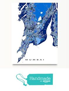 Mumbai Map Art Print, India City Wall Artwork, Blue, Bombay from Maps As Art https://www.amazon.com/dp/B01FPR9ZVC/ref=hnd_sw_r_pi_dp_9kUgybVQW9C9S #handmadeatamazon