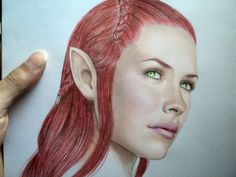 Striking The Hobbit Color Pencil Drawing Of Evangeline Lilly's Tauriel