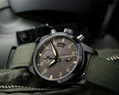 Schaffhausen Watches Big Pilot watch is available at Iwc Watches, Sport Watches, Cool Watches, Army Watches, Luxury Watch Brands, Luxury Watches For Men, Iwc Pilot Chronograph, Watches Photography, Elegant Watches