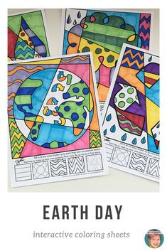 These interactive coloring sheets make for a fun, creative, Earth Day activity for kids. Fun for kids, easy for teachers! #earthdayactivities #earthdayactivitiesforkids #artwithjennyk