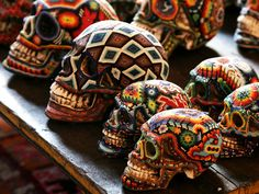 Beautiful & Macabre Beaded Human Skulls by Mexican Huichol Artists