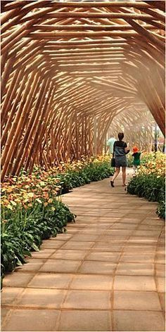 While common in most Asian homes that have enough land surrounding it, bamboo garden are not something that you usually hear about in the American home. Pavilion Architecture, Landscape Architecture Design, Interior Architecture, Neoclassical Architecture, Chinese Architecture, Futuristic Architecture, Bamboo Structure, Shade Structure, Bamboo House Design