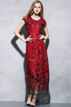 $165.99 Red Embroidered Mesh Maxi Dress
