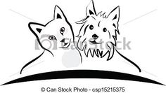 Vector - Cat and dog logo vector - stock illustration, royalty free illustrations, stock clip art icon, stock clipart icons, logo, line art, EPS picture, pictures, graphic, graphics, drawing, drawings, vector image, artwork, EPS vector art