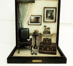 The Room with Black chairs and horses Vintage by DollhouseAra