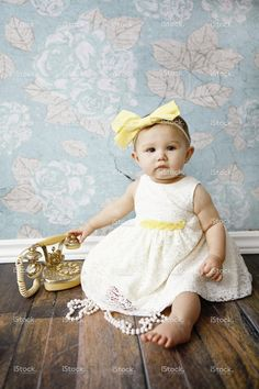 Baby Girl With Vintage Phone