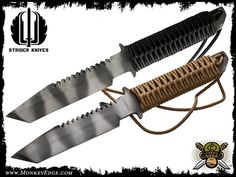 Strider Knives Fixed: BT w/Spine Serrations Cord Wrapped