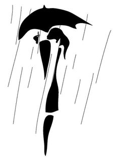 contemporary graphic of a woman with an umbrella in the rain