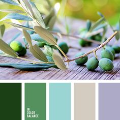 Delicious soft palette. Turquoise, gray, lavender - light, airy colors. In the interior they are visually increase the room. Dark green and olive add weight and contrasts beautifully with the bright colors. These colors fit perfectly into the interior of the living room, bedroom or bathroom. They will also appreciate easy and sociable young people.
