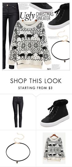 """""""Ugly Xmas Sweater"""" by mycherryblossom ❤ liked on Polyvore featuring H&M, polyvoreeditorial, polyvorestyle and holidaystyle"""
